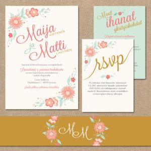 """Hääkutsukortti infokorteilla, """"Romantic Floral Light"""", Premium-mallisto 2016"""